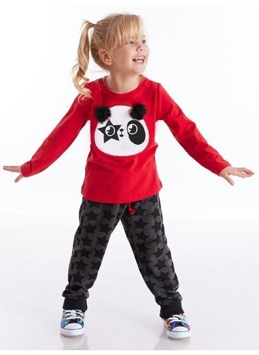 Denokids Ponponlu Panda Kız Pantolon Takım Kırmızı